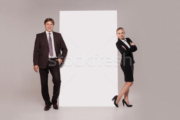 деловой человек женщину Постоянный баннер оба изолированный Сток-фото © julenochek