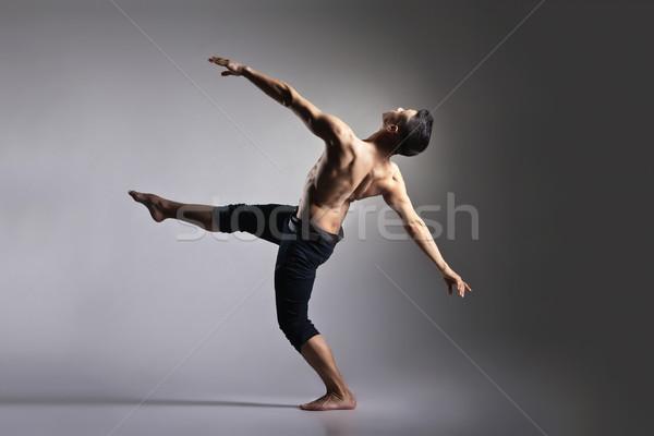 Jeunes élégant modernes danseur de ballet gris danse Photo stock © julenochek