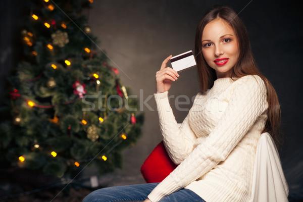 Stockfoto: Vrouw · creditcard · kerstboom · portret · nadenkend · boom