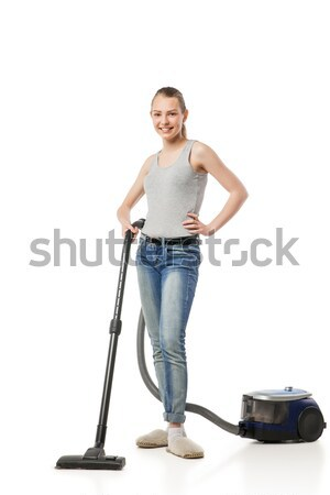 Smiling woman with vacuum-cleaner isolated Stock photo © julenochek