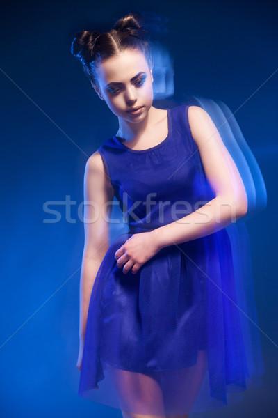 çekici genç kadın mavi elbise makyaj Stok fotoğraf © julenochek