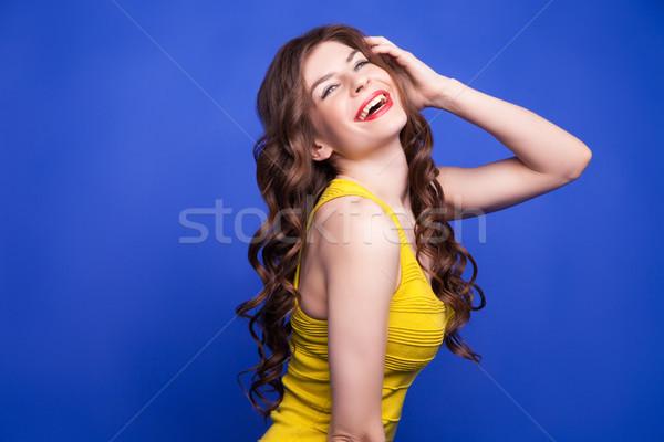 Stockfoto: Vrolijk · model · Geel · jurk · glimlachend · portret