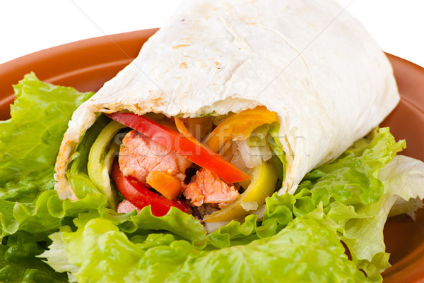 burrito with salmon, peppers and tomato Stock photo © julenochek