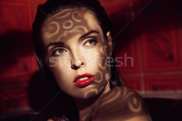 Beautiful woman with shadow of ornament Stock photo © julenochek