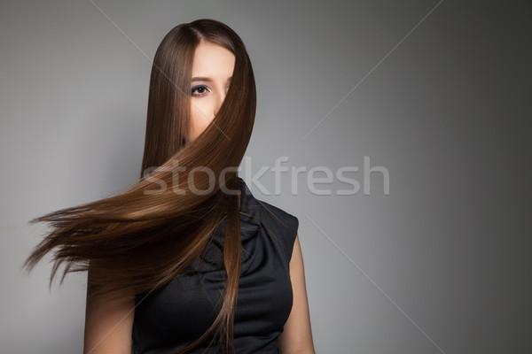 Barna hajú modell zseniális haj repülés messze Stock fotó © julenochek