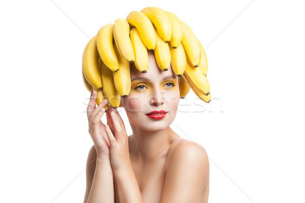 Izolált portré topless modell banán fej Stock fotó © julenochek