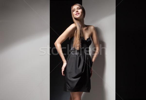 портрет красивая женщина мало черное платье улыбаясь Сток-фото © julenochek