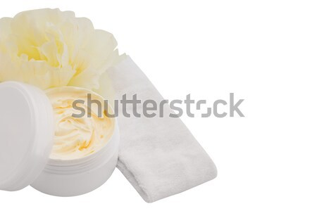 Spa cosmetic cream, headband and applicator isolated on white Stock photo © julenochek