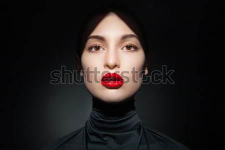 Közelkép érzéki modell piros ajkak csukott szemmel fiatal Stock fotó © julenochek