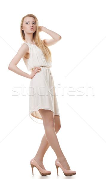 ポーズ ブロンド 女性 長髪 白 肖像 ストックフォト © julenochek