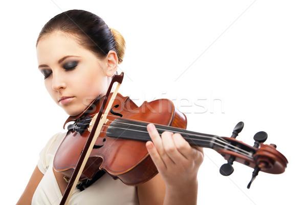 Piękna młoda kobieta gry skrzypce biały kobieta Zdjęcia stock © julenochek