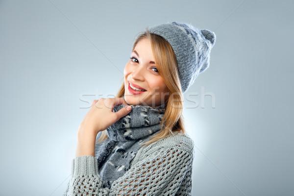 Karácsony lány fiatal gyönyörű mosolyog kék Stock fotó © julenochek