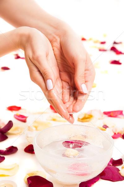 Female tender hands making bowl Stock photo © julenochek
