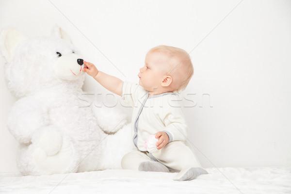 очаровательный мишка небольшой белый костюм Сток-фото © julenochek