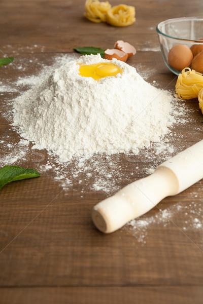 Közelkép kilátás főzés tojások tároló elöl Stock fotó © julenochek