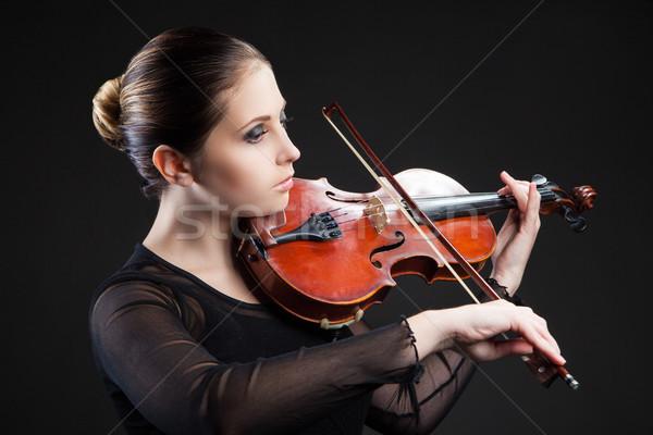 Belle jeune femme jouer violon noir femme Photo stock © julenochek