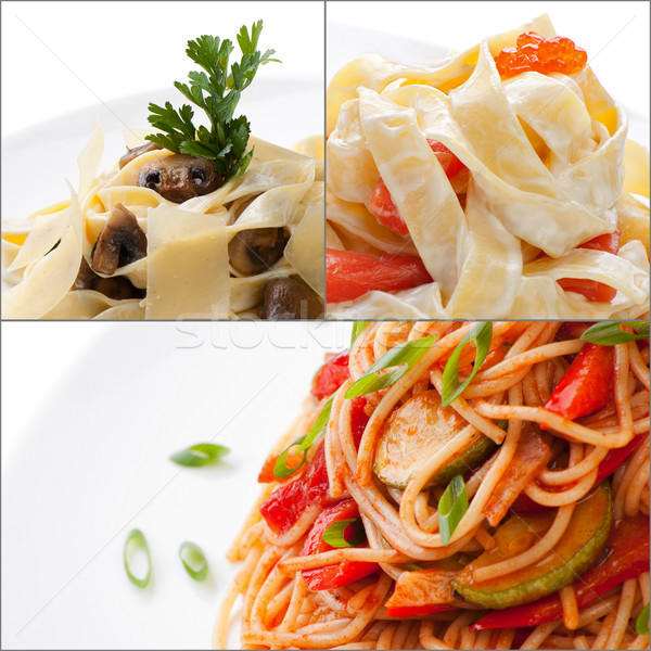 Collage with assorted delicious italian pasta closeup isolated Stock photo © julenochek