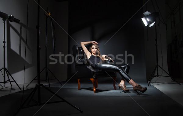 девушки Председатель выстрел интерьер студию модель Сток-фото © julenochek