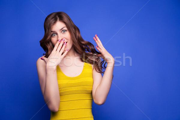 Genç esmer sarı elbise Stok fotoğraf © julenochek