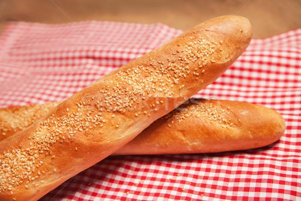 Francia kenyér izolált kockás szalvéta pár konyha Stock fotó © julenochek