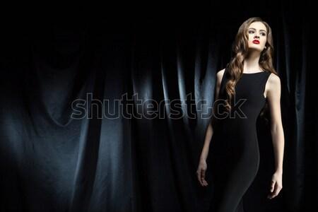 Nő alsónemű sötét barna hajú stúdiófelvétel arc Stock fotó © julenochek