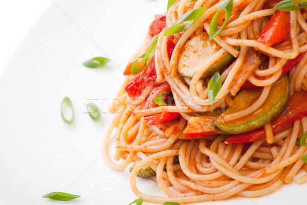 Spagetti cukkini paradicsom színes reszelt sajt étel Stock fotó © julenochek