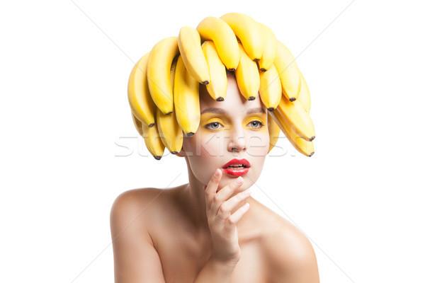 Odizolowany portret topless model bananów głowie Zdjęcia stock © julenochek