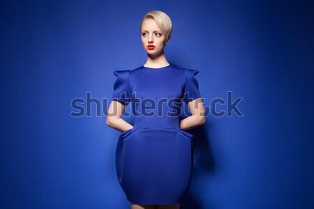 Portré divatos nő kék ruha fényes Stock fotó © julenochek