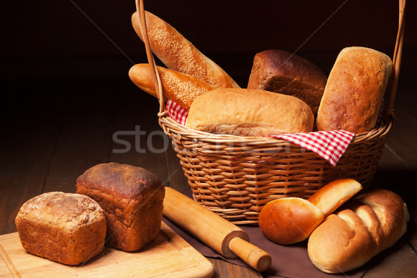 Composition with bread, cutting board and rolling-pin Stock photo © julenochek