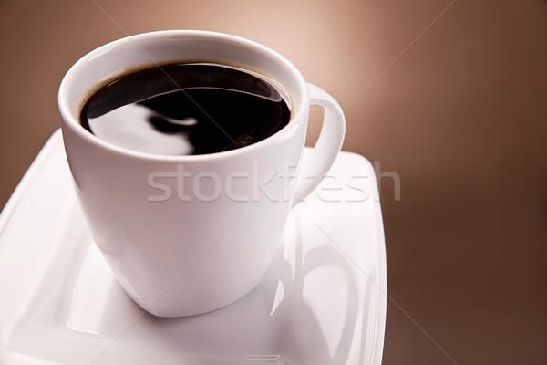 Stockfoto: Beker · koffie · mooie · bruin · witte · achtergrond