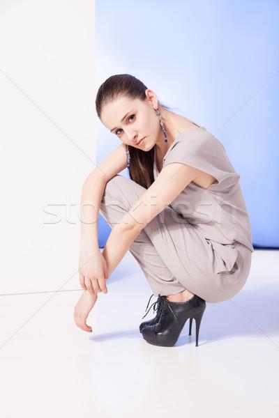 Сток-фото: портрет · женщину · сидят · красивой · брюнетка