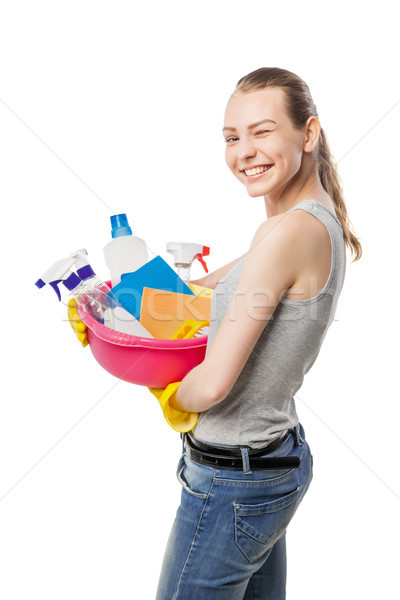 Smiling woman with cleansers and wipes isolated Stock photo © julenochek