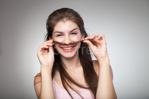 Brunette moustache cheveux souriant femme Photo stock © julenochek