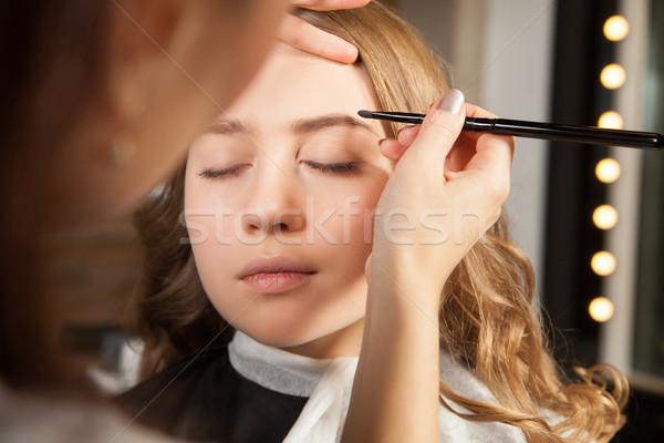 Stilist yukarı kaş kozmetik yatay Stok fotoğraf © julenochek