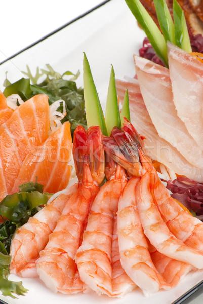 Ayarlamak sashimi deniz yosunu salatalık beyaz turp Stok fotoğraf © julenochek