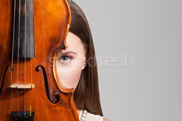 красивая женщина глядя камеры один глаза Сток-фото © julenochek