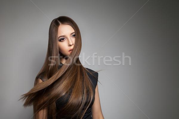 ブルネット モデル 輝かしい 髪 飛行 ストックフォト © julenochek