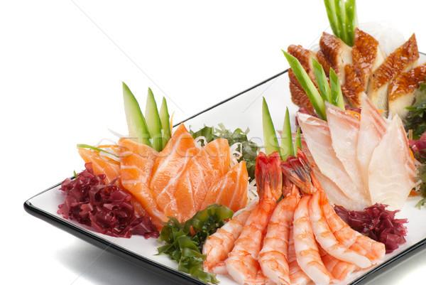 Set of Sashimi on Daikon with Seaweed, Cucumber Stock photo © julenochek