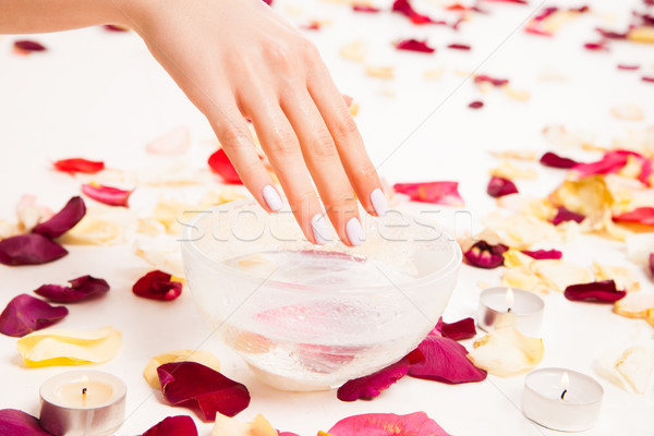 Female gentle hand on bowl with water Stock photo © julenochek