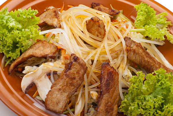 Fried Noodles with Beef and Vegetables Stock photo © julenochek