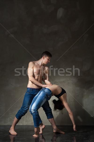 Dancing Coppia ponte coppia posizione verticale Foto d'archivio © julenochek