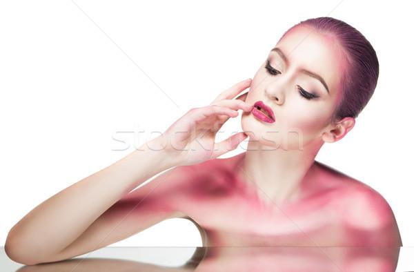 Model pokryty różowy blask topless Zdjęcia stock © julenochek