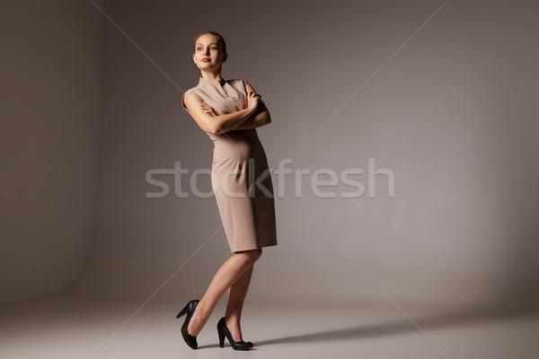 Gelukkig zakenvrouw portret permanente bruin Stockfoto © julenochek