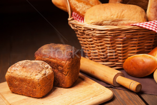Close up of composition with bread in wicker basket Stock photo © julenochek