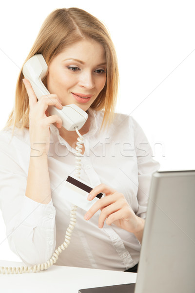 Zakenvrouw laptop creditcard telefoon witte computer Stockfoto © julenochek