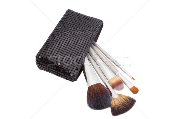 Stock photo: Set of make-up brushes in bag isolated on white