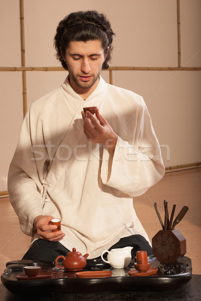 молодым человеком китайский чай церемония кимоно Сток-фото © julenochek