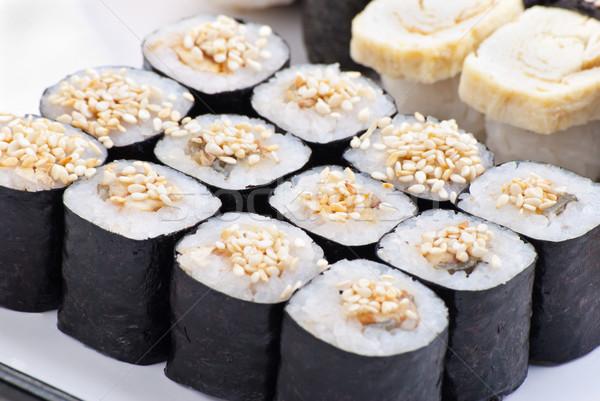 Closeup japanese sushi on a white plate Stock photo © julenochek