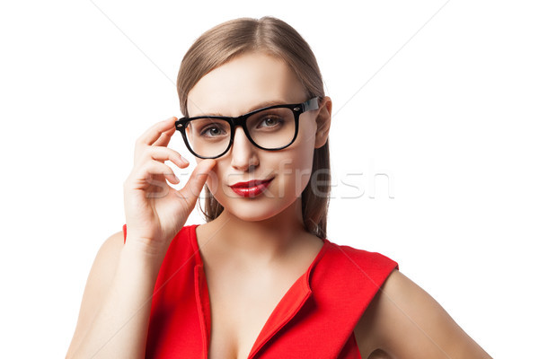 Sorridente inteligente mulher óculos retrato bela mulher Foto stock © julenochek