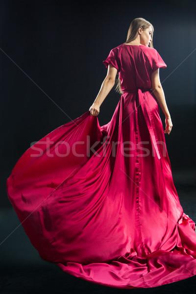 вид сзади молодые ярко розовый платье Сток-фото © julenochek